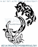 Wolf And Lynx Tribal Yin Yang + Crescent Moon by WildSpiritWolf