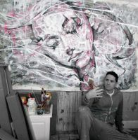 In the studio with a recent piece by ART-BY-DOC