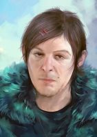 Norman Reedus short portrait brush practice by Everybery