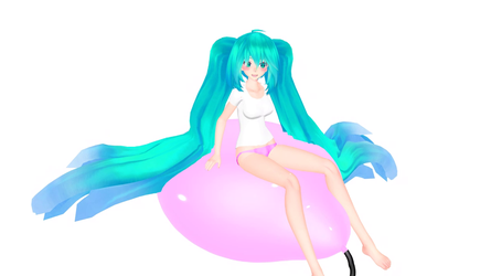 big haired Miku gets her big pink balloon inflated by Nano4K