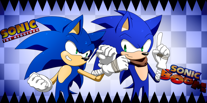 Two Sonics, one awesomeness by KyuubiCore