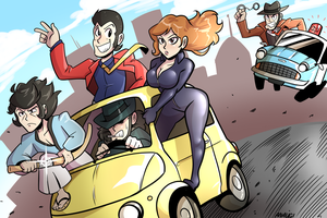 Lupin III Car Chase by Anaugi