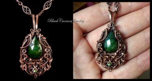 Emerald and Copper Pendant by blackcurrantjewelry