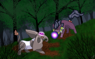 [COMMISSION] Eos13Unknown's Fight in the Forest by DeitoninVespera