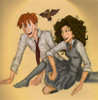 Ron and Hermione by HILLYMINNE