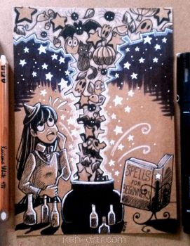 Inktober | Day 02 | Student Witch by keh-arts