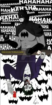 Batman and Joker. The falling into madness. by Elilustre
