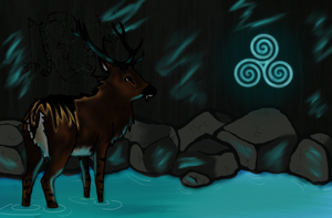 The cave of the Pictish Deer by caliwings