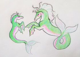 Sea horse doodles by JenniferBee