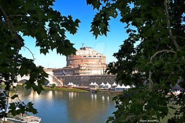 Castle S. Angelo seen from Lungotevere Street by Book-Art