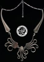 Flying Squid Fork Necklace by Doctor-Gus