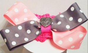 Pink and gray polka dot heart charm headband by wolf-girl87