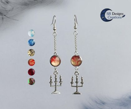 Candles Winter Chirstmas fantasy earrings by Nyjama