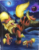 Arcanine with pups by LaSpliten