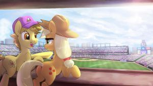 Commission - Dawnen Dusk and AJ enjoying Baseball by FidzFox