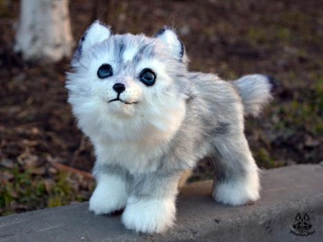 Poseable toy commission OC wolf cub by MalinaToys