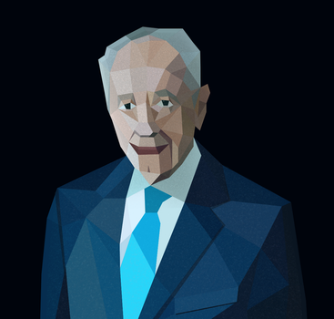Low-poly Shimon Peres portrait by artrayd
