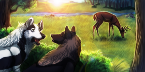 Early Morning Hunt (Collaboration) by VexiWolf