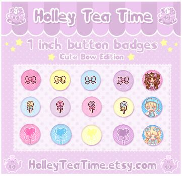 Cute Button Badges Bow Edition by miemie-chan3