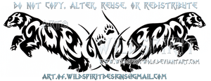 Dual Pouncing Polar Bears Tribal Design by WildSpiritWolf