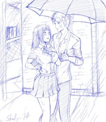 Sharing an umbrella by shelly-14