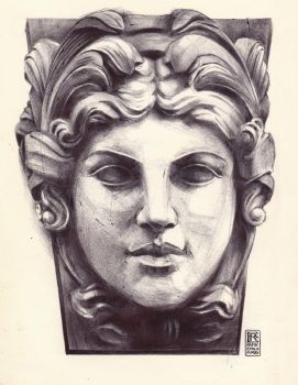 Female statue face Ballpoint Art by Rafik Emil H by rafikemil