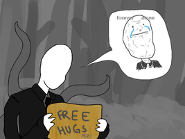 Slender-man wants hugs by JohanApostrof