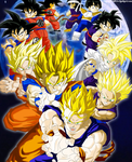 The Evolution of Goku and Gohan Colored by JamalC157