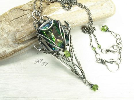 Fantasy - Mystic Quartz and Peridot Necklace by FILIGRY