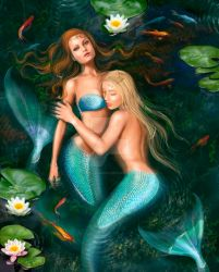 Beautiful fantasy princess mermaids in lake with by AlenaLazareva