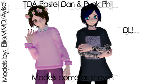 MMD TDA Punk Phil and Pastel Dan Models [DL BACK] by EllieMMD