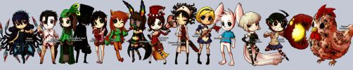 Chibi commissions + a chicken by sachsen