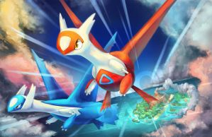 Latios + Latias by CrowParty
