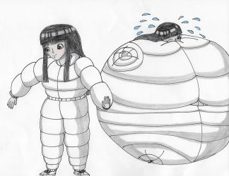 Sera in her white inflatable pillow suit by Magic-Kristina-KW