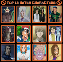 My Top 12 Hated Characters Meme by TheRisenChaos
