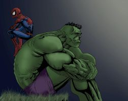 Hulk spidey pondering colored by aftershock80
