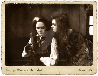 Sweeney Todd and Mrs. Lovett (old photo style) by snowyblackrose