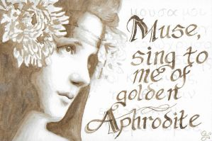 Muse Sing to Me of Golden Aphrodite - Walnut Ink by Kittenpants