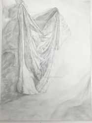 Intro to Drawing - Drapery study (pencil) by WIERDisTotallyNORMAL
