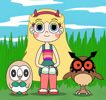 Star look likes an owl with Rowlet and Hoothoot
