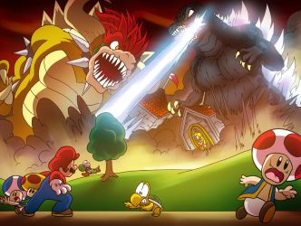 Godzilla VS- The Mushroom Kingdom by OUTCASTComix