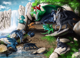Commission: Dragon's Family by Diterkha