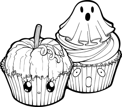 Desserties   Halloween Cupcakes Lineart by Chibivi-Linearts