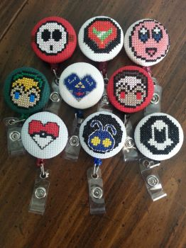 Video Game inspired ID badges by Sew-Madd