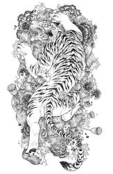 White Tiger tattoo: lines by RenieDraws