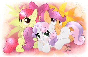 MLP FIM - Cutie Mark Crusaders Group Picture by Joakaha