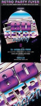 80s Retro Party Flyer Template by Hotpindesigns