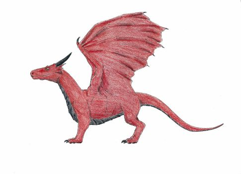 Red dragon (colored pencil drawing) by iamayreth