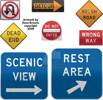 Short-story-title road signs by Catspaw-DTP-Services