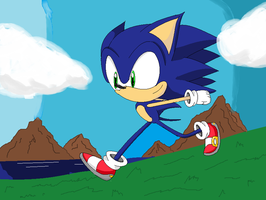Sonic running by MilestheHedgehog